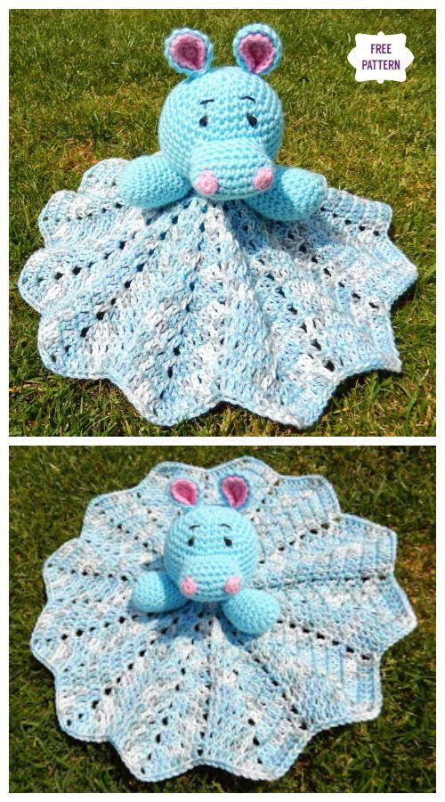 Crochet Hippo Lovey Blanket Free Crochet Pattern #crochetsecurityblanket