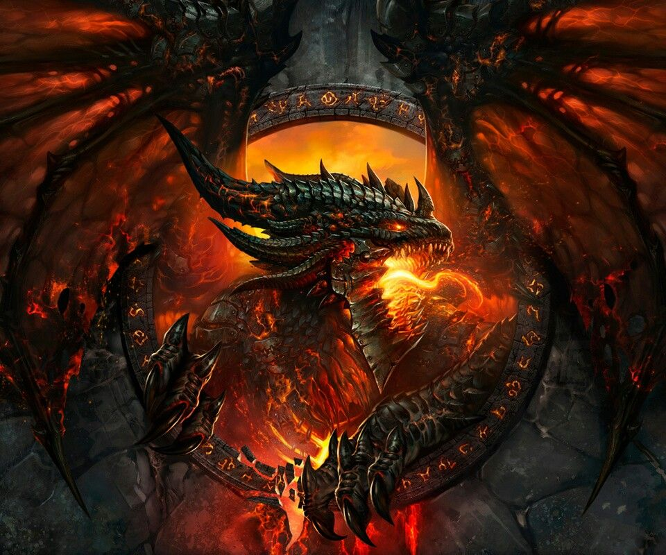 Flaming Dragon World of warcraft wallpaper, Warcraft art