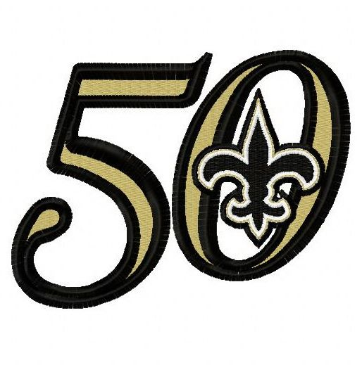 hot sale online 59a58 3b573 New Orleans Saints 50th anniversary 3 machine embroidery ...