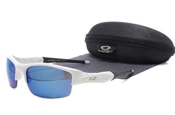 $12.99 Perfect Oakley Flak Jacket Sunglasses White Frame Blue Lens Private  Sale www.oakleysunglassescheapdeals.