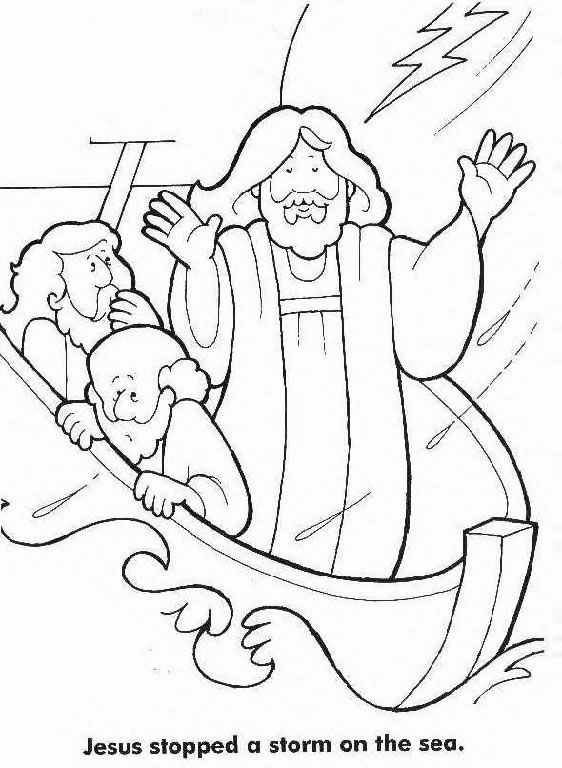 Jesus Calms The Storm Colouring Page Sunday School Coloring Pages