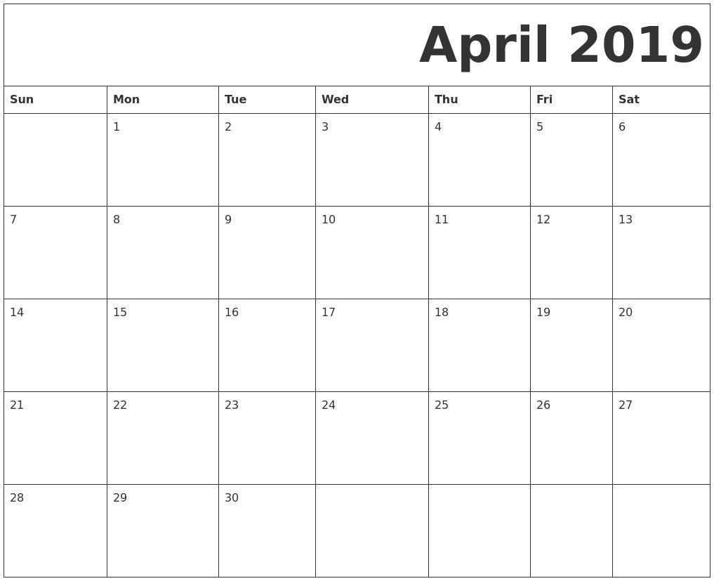 free printable april 2019 calendar full page  tumblr