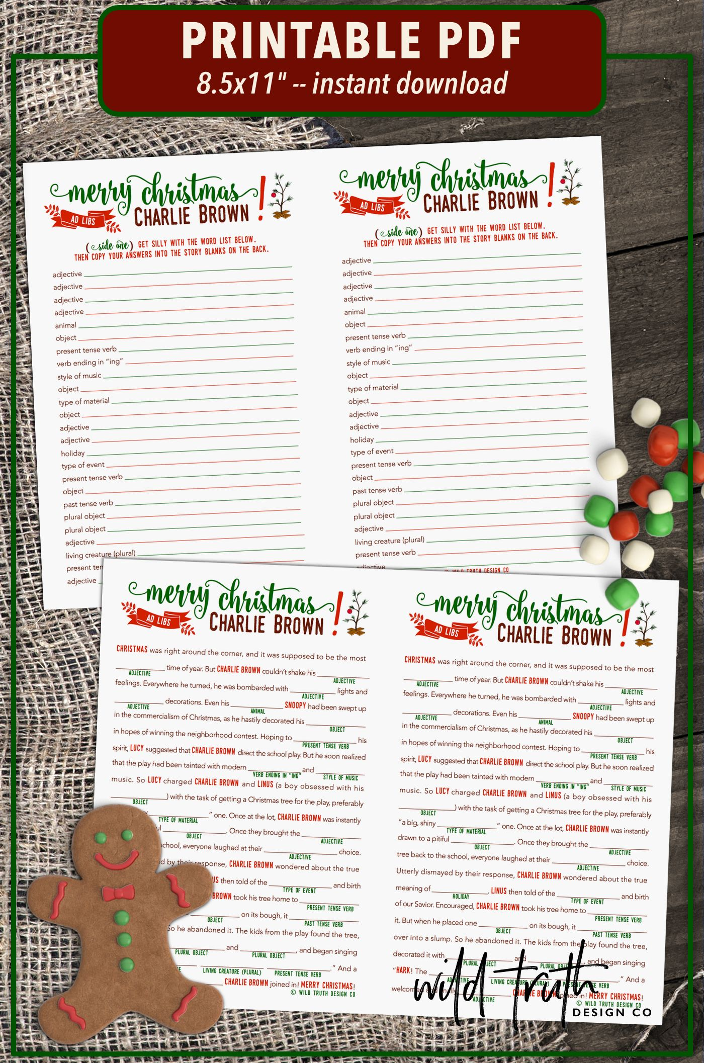 Charlie Brown Christmas Mad Libs Party Game