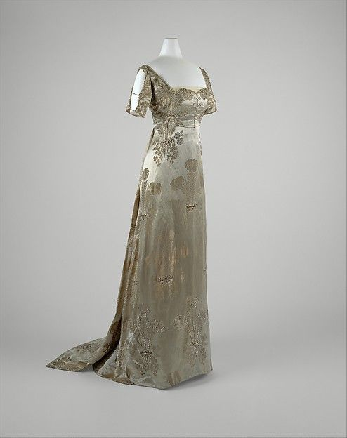 Evening dress Evening dress Designer: Weeks (French) Date: ca. 1911 Culture: French Medium: silk, metal, glass Dimensions: Length at Side Seam: 64 in. (162.6 cm) Credit Line: Gift of Mrs. C. Phillip Miller, 1957 Accession Number: C.I.57.17.3