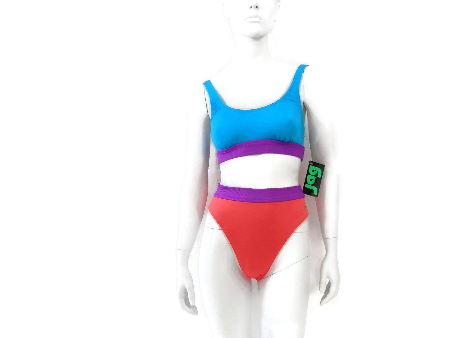 acdba8f240b01 Jag 2 Piece Bikini Swimsuit Hot Neon Orange Purple and Blue High Waist  Trunk Vintage 80s Bathing Suit Old Store Dead Stock sz 10 #151 by  bigbangzero on Etsy
