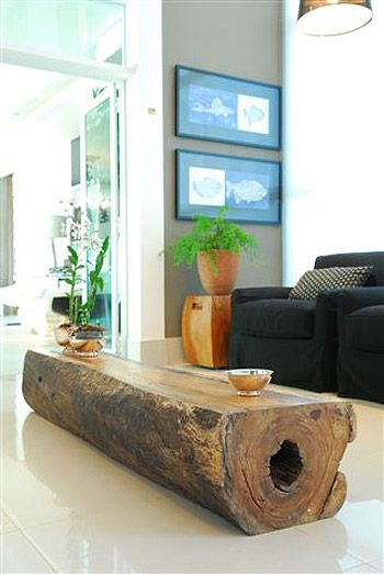 liking the log coffee table.