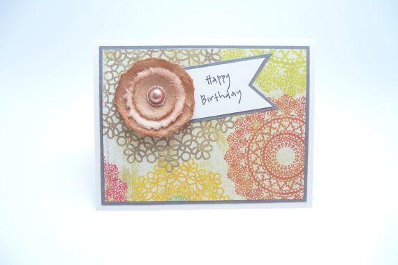Happy Birthday Greeting Card For Her Feminine Women Paper Flower Fancy Handmade