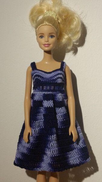 Puppenkleidung - Barbie Kleid (gehäkelt), dunkelblau, meliert - ein ...