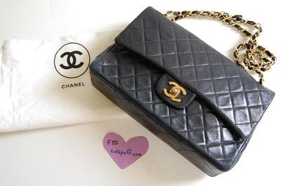 671edf6f6fc9 10 inch Medium Vintage Chanel Classic Double Flap 2.55 Black Lambskin with  Gold Hardware Bag | Lollipuff $1300