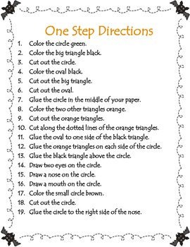 Following Oral Written Directions Includes Materials List Simple Shape Template That Students Color