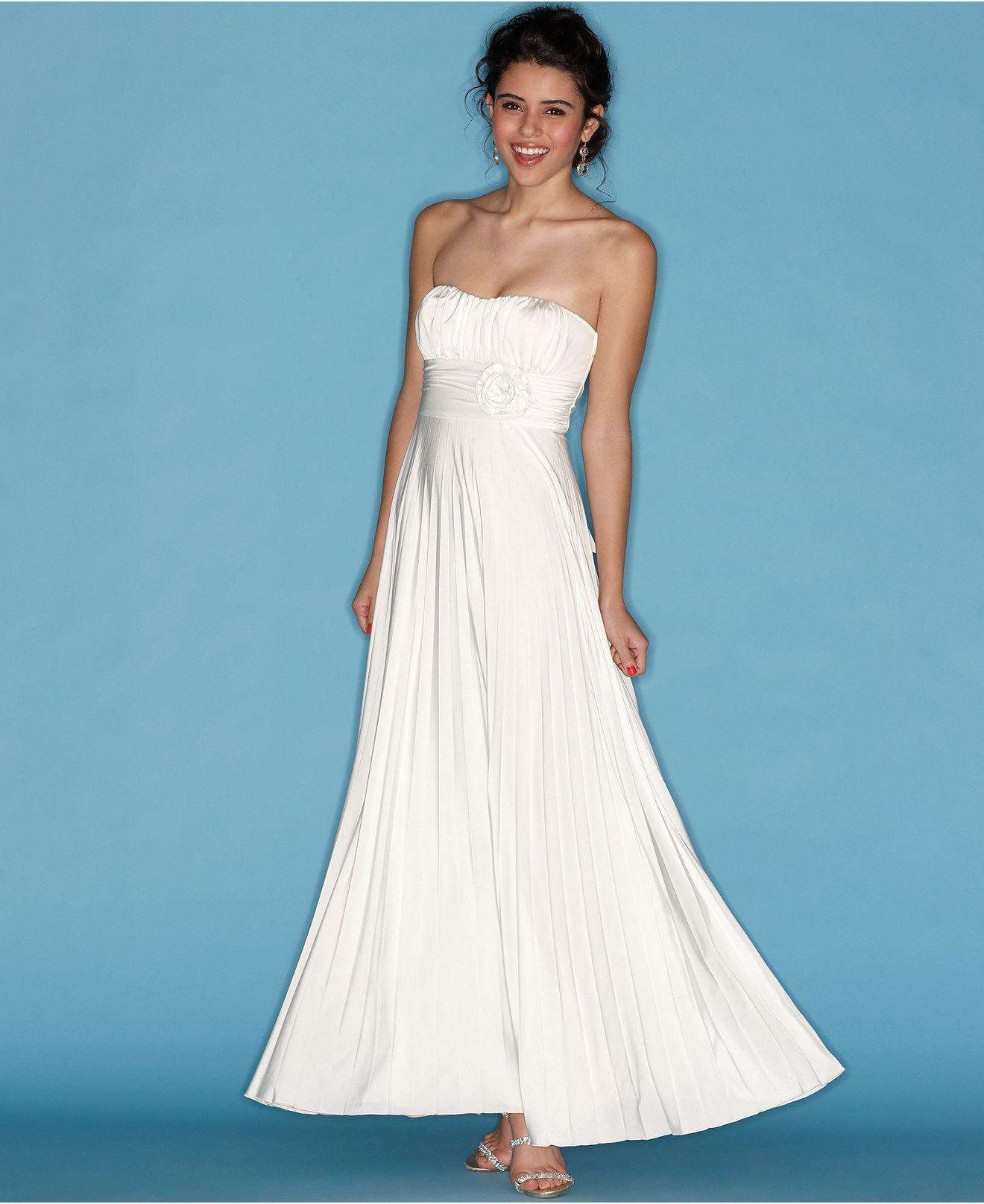 Macys womens dresses wedding  Speechless Juniors Dress Strapless Gown with RoseWaist Detail
