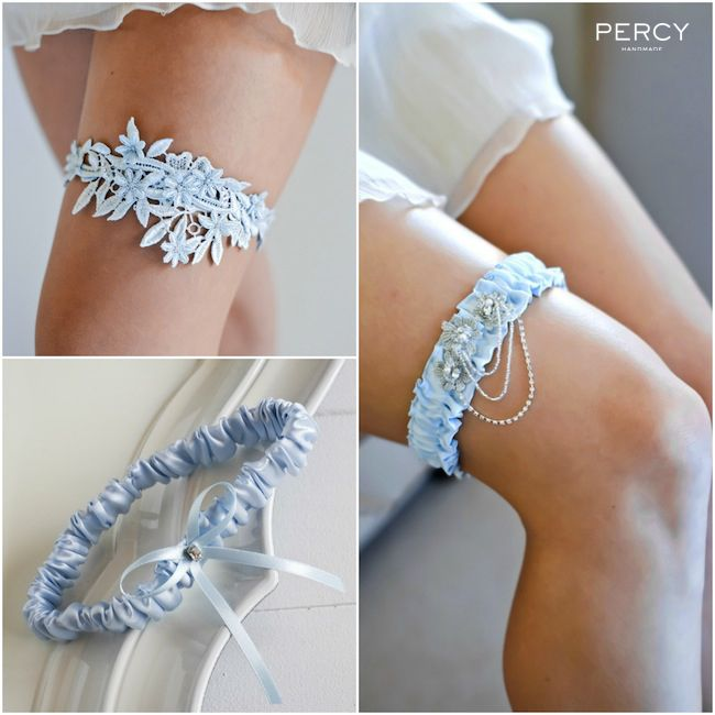 Blue Wedding Garters In Silk And Hand Dyed Lace By Tania Maras Bridal