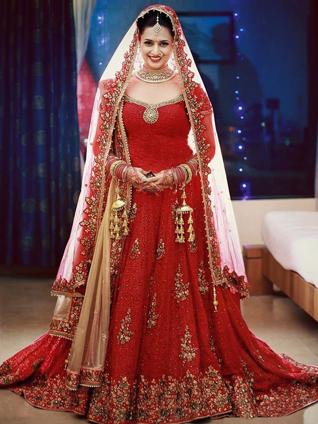 Designer Red Net Lehenga Choli Indian bridal dress