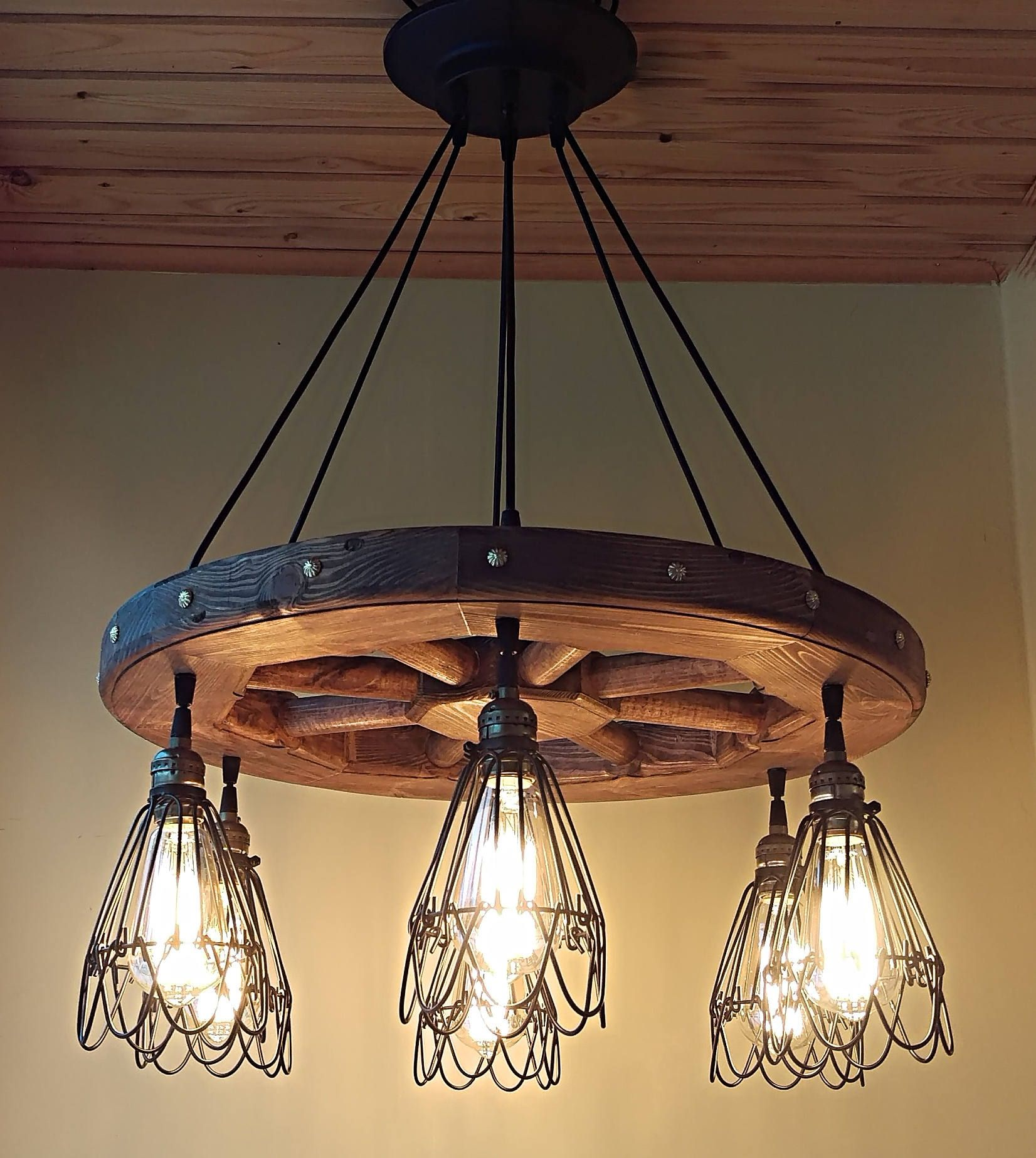 Industrial pendant light wood chandelier rustic handmade pendant