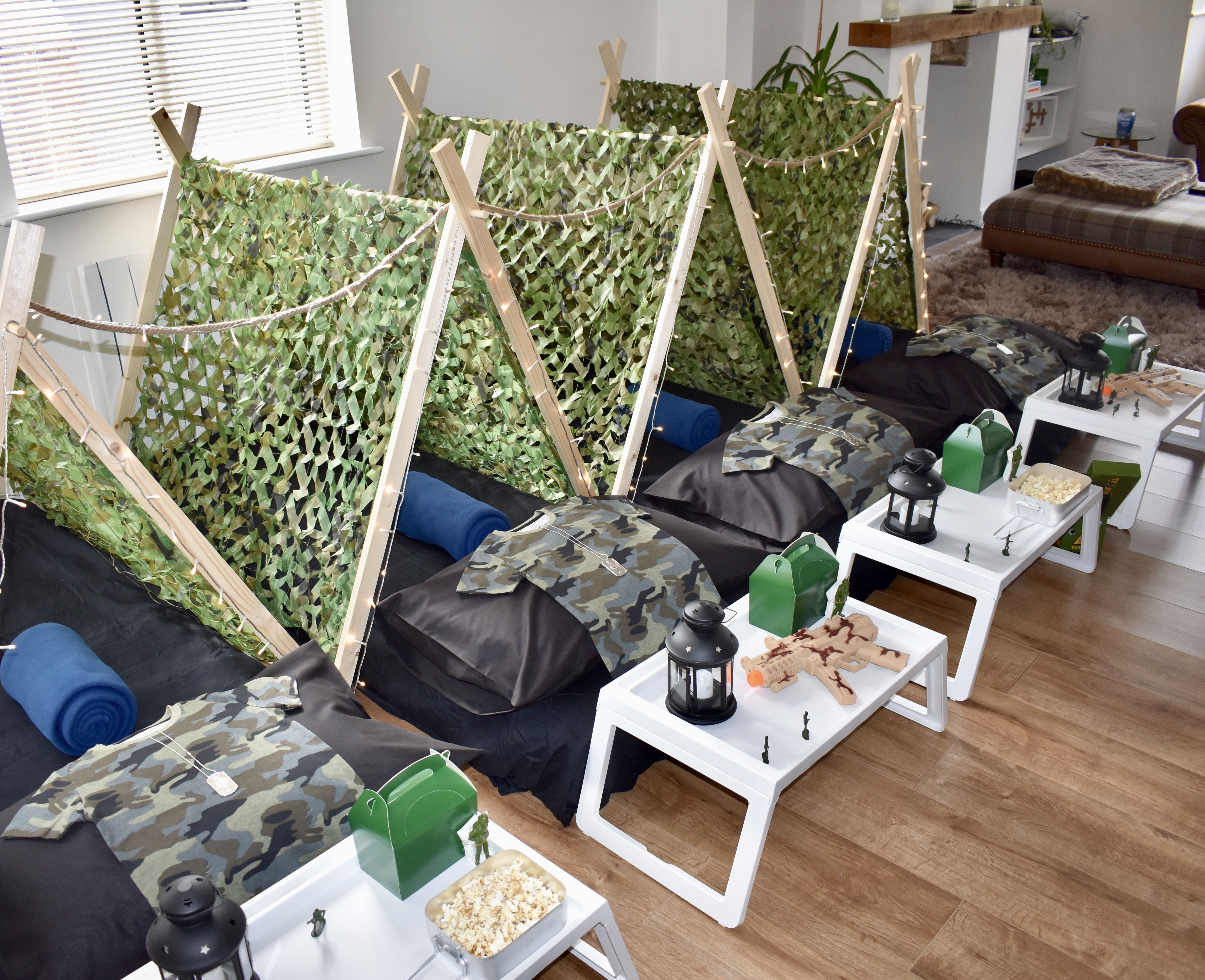 Boys Armed Themed Tent Sleepover Sleepover Birthday Parties Slumber Parties Sleepover Tents