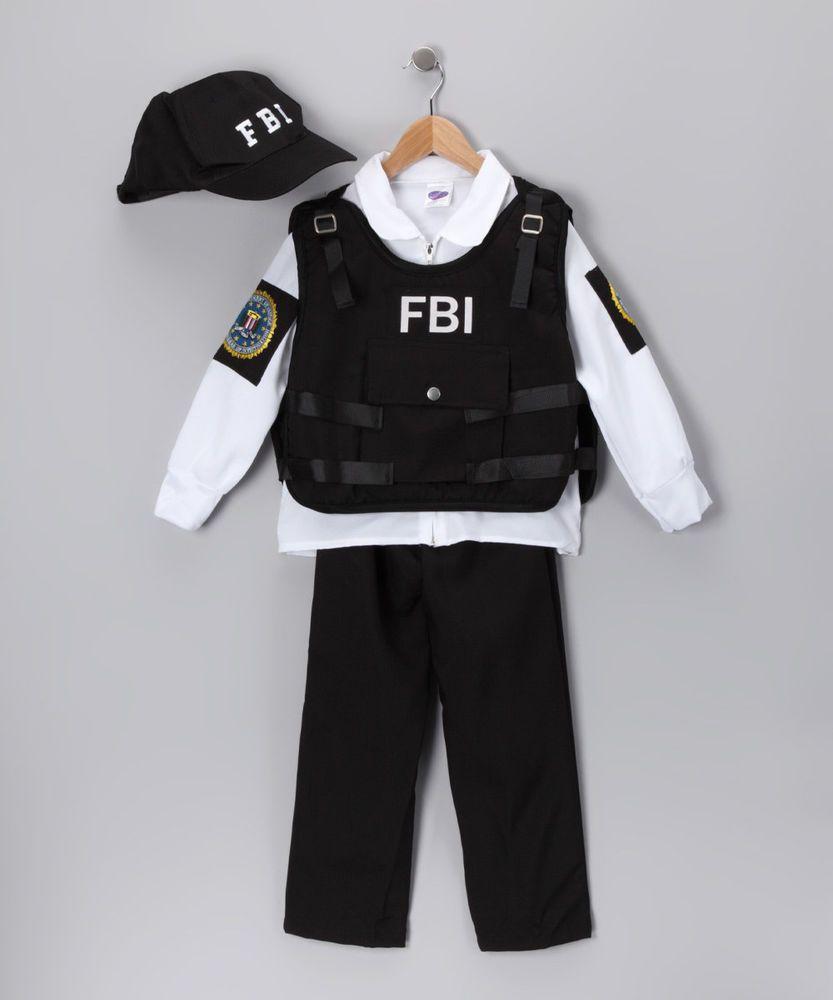 Fbi Agent Deluxe Black Dress Up Set Kids Nwt Girls Or Boys Medium 8 10 Police Costume Kids Police Costume Kids Costumes