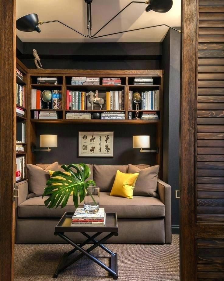 Ikea Home Office Library Ideas: Kleiner Den Furniture Layout #ikea #sofas #kleineküchen