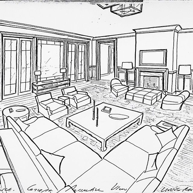Concept sketch for a family room space for a project on the hamptons #garrowkedigian #interiordesign #interiorrendering #handdrawn #conceptsketch #sectional #sectionalsofa #sofa #sofas #sofatable #coffeetable #furnitureplan #furniturelayout #mantle #fireplace #frenchdoors #upholsteredchair #ottoman #floorlamp #floorstandinglamp #hamptons #hamptonsdesign #designsketches #sketch #newyork #newyorkhomes #newyorkdesign