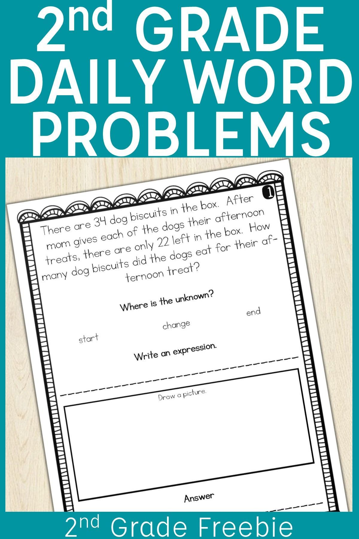 2nd Grade Word Problem of the Day Story Problems- Back to School {Freebie!}    Word problems [ 1800 x 1200 Pixel ]