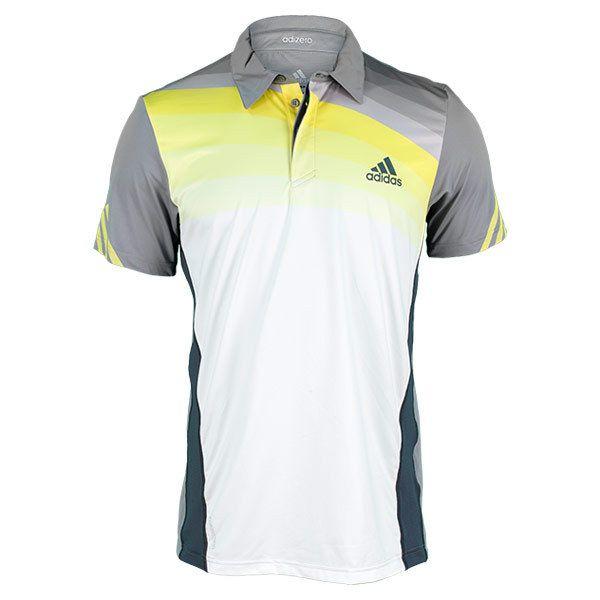sale retailer ae9fb 79ac0 Mens Adizero Tennis Polo White Onix Yellow
