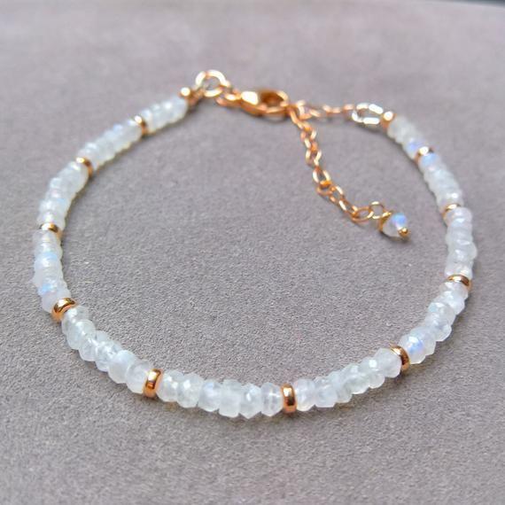 Moonstone bracelet rose gold, adjustable bracelet, moonstone beaded bracelet, dainty stacking bracelet, June birthstone bracelet, gift idea