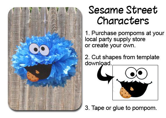 Cookie Monster Pom Pom Face Template Sesame Street Party u2026 Pinteresu2026 - monster template
