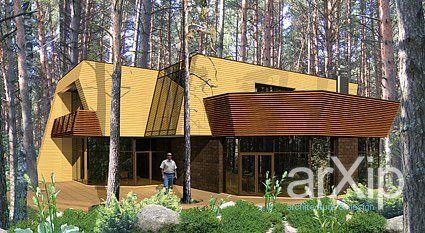 "Вилла ""Сосна"": архитектура, 2 эт | 6м, жилье, модернизм, 200 - 300 м2, фасад - кирпич, каркас - ж/б, коттедж, особняк #architecture #2fl_6m #housing #modernism #200_300m2 #facade_brick #frame_ironconcrete #cottage #mansion arXip.com"