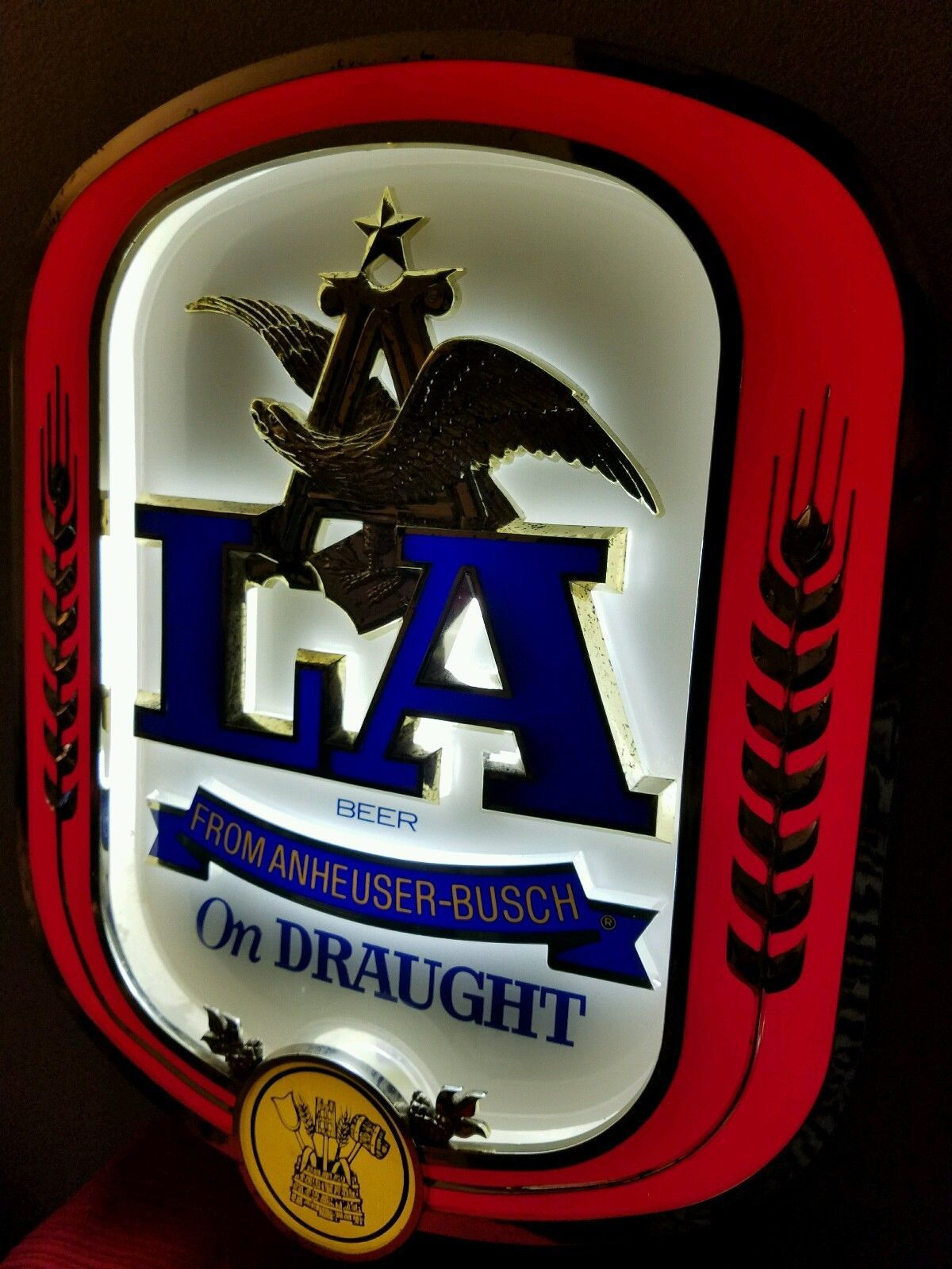 La Premium Pilsner Beer From Anheuser Busch Lighted Beer Sign