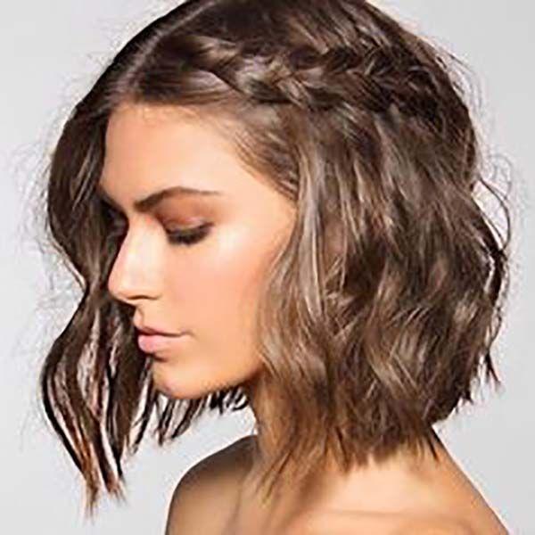 30 maravillosos peinados melena corta trenza inacabada para melenas bob peinados romanos para melena corta cortes pelo corto flequillo y rizado fotos - Melenas Cortas
