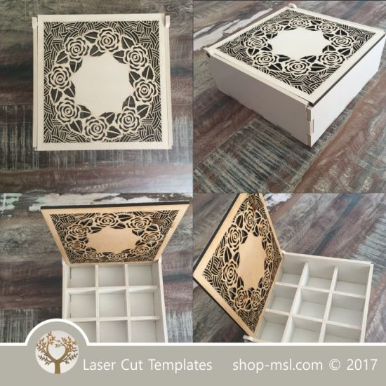 Wooden box template with dividers for laser cut and for Laser cut wood box template
