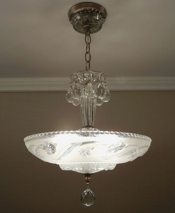 Antique art nouveau vintage deco frosted pressed glass ceiling light fixture chandelier rewired op etsy