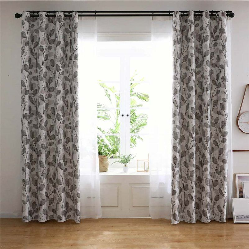 Simple Leaf Printed Curtain Nordic Style Grey Curtain