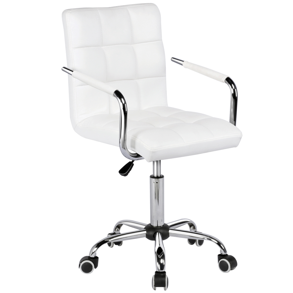 Modern Leather Swivel Executive Office Chair White Walmart Com Modern Leather Office Chair Office Chair Leather Chair