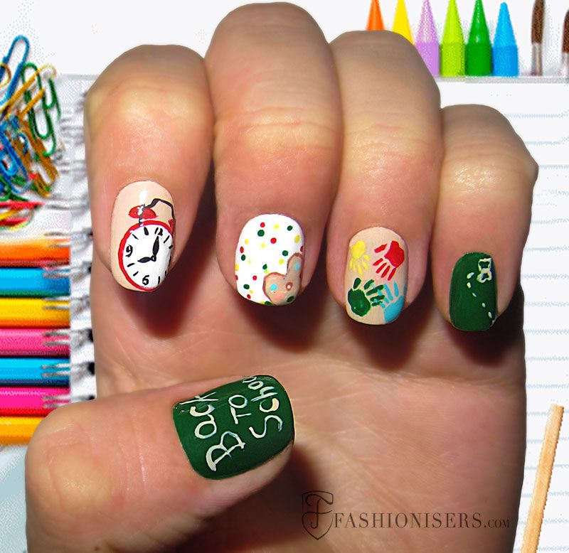 12 Cute Back To School Nail Art Designs #nailart #naildesigns  #backtoschoolnails - 12 Cute Back To School Nail Art Designs In 2018 Nails We Love