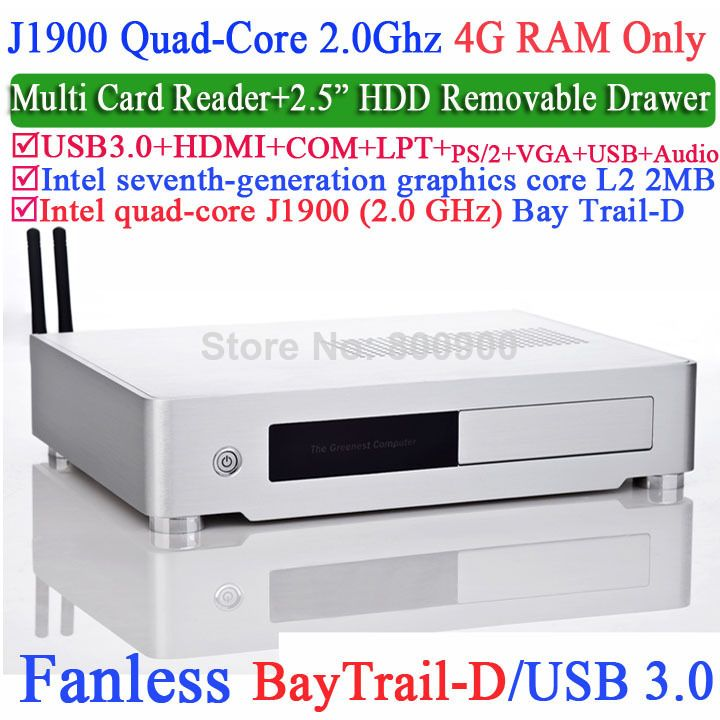 aluminum small computer with Intel Quad-Core J1900 Bay Trail-D 2 0