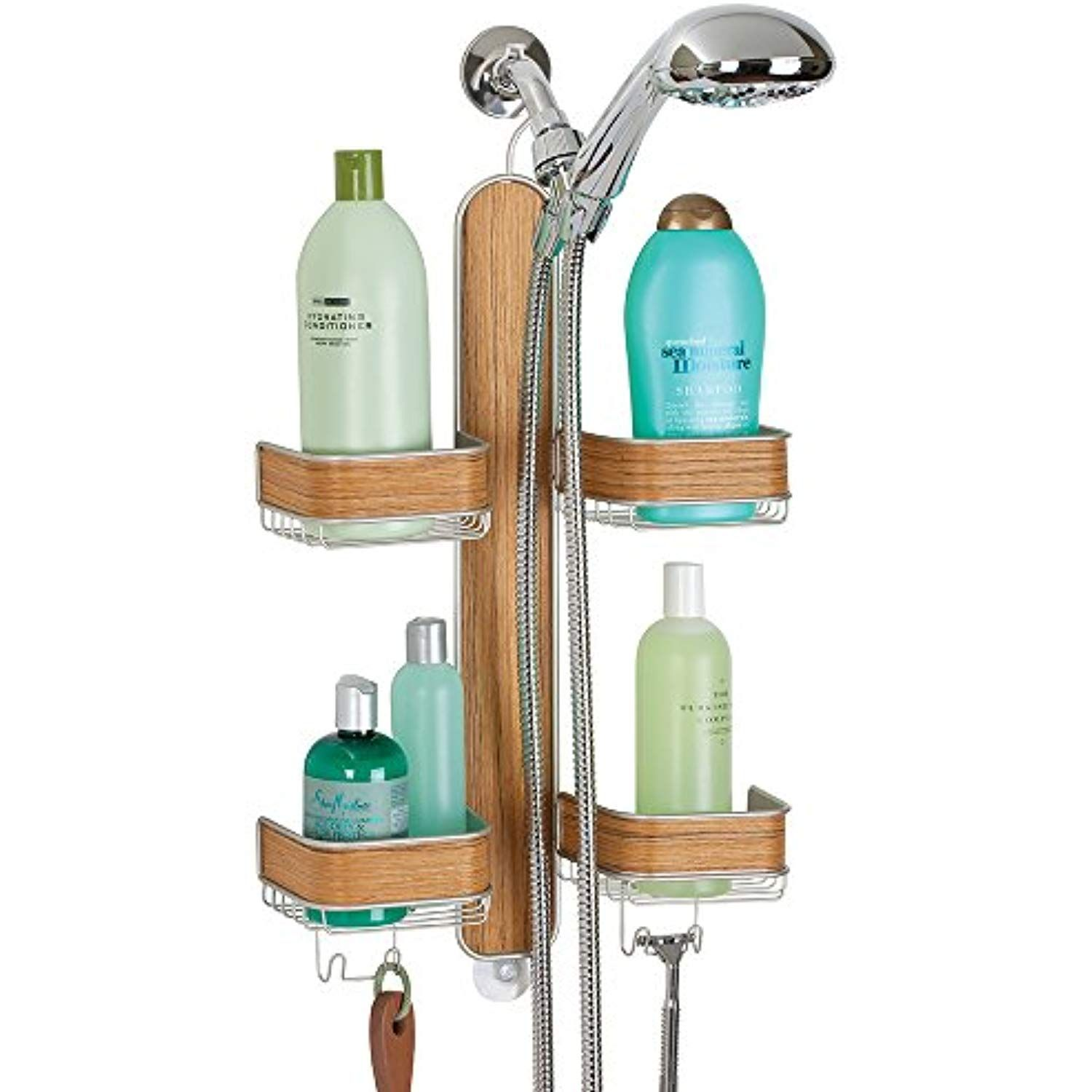 Mdesign Bathroom Shower Caddy For Hand Held Hoses Shampoo Conditioner Soap Satin Teak Wood Finish Shower Caddy Storage Hanging Shower Caddy Shower Caddy
