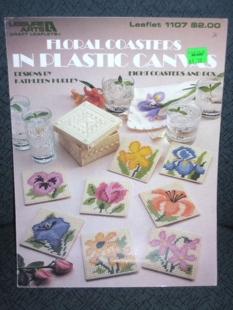 Floral Coasters Plastic canvas Leaflet Rose Daylily  Pansy Violet Iris Jonquil