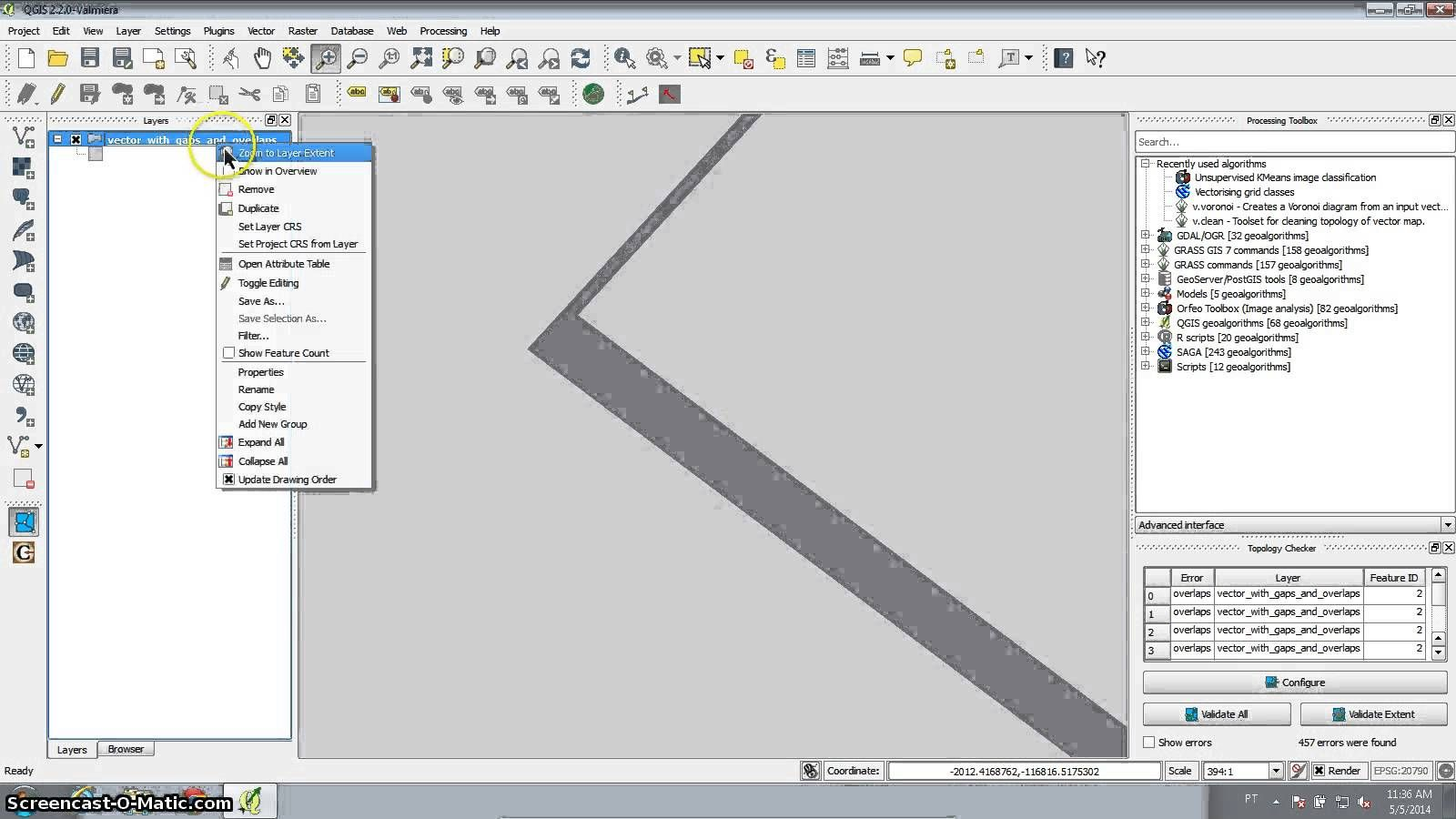 QGIS tutrial : remove overlapping areas and fill gaps with the Processing toolbox