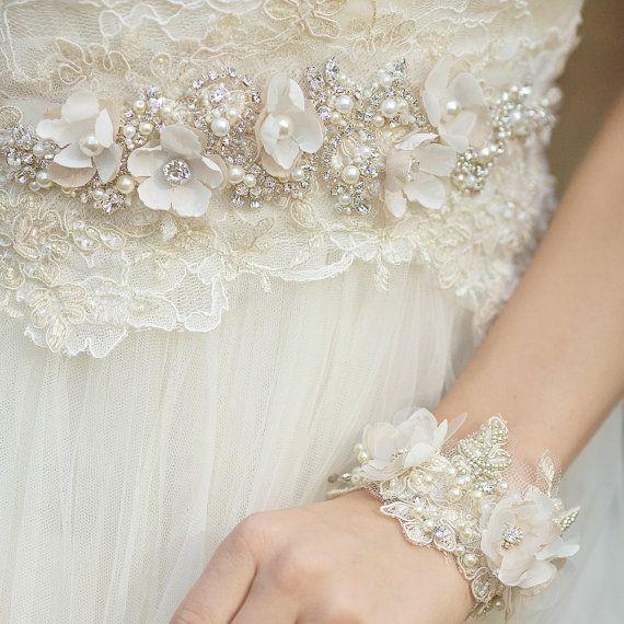 Marco de boda único, vestido de novia Fajas y cinturones novia cinta ...