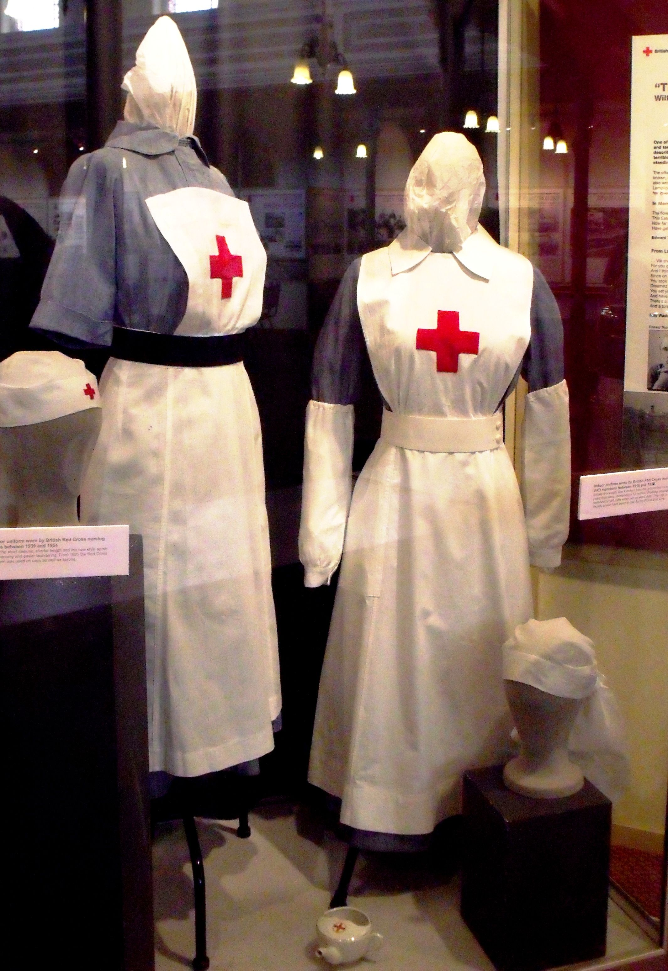 34036372317e7 Indoor uniforms worn by the British Red Cross Nursing VADs in both World  Wars. Left-hand side is World War Two and right-hand side is World War One.