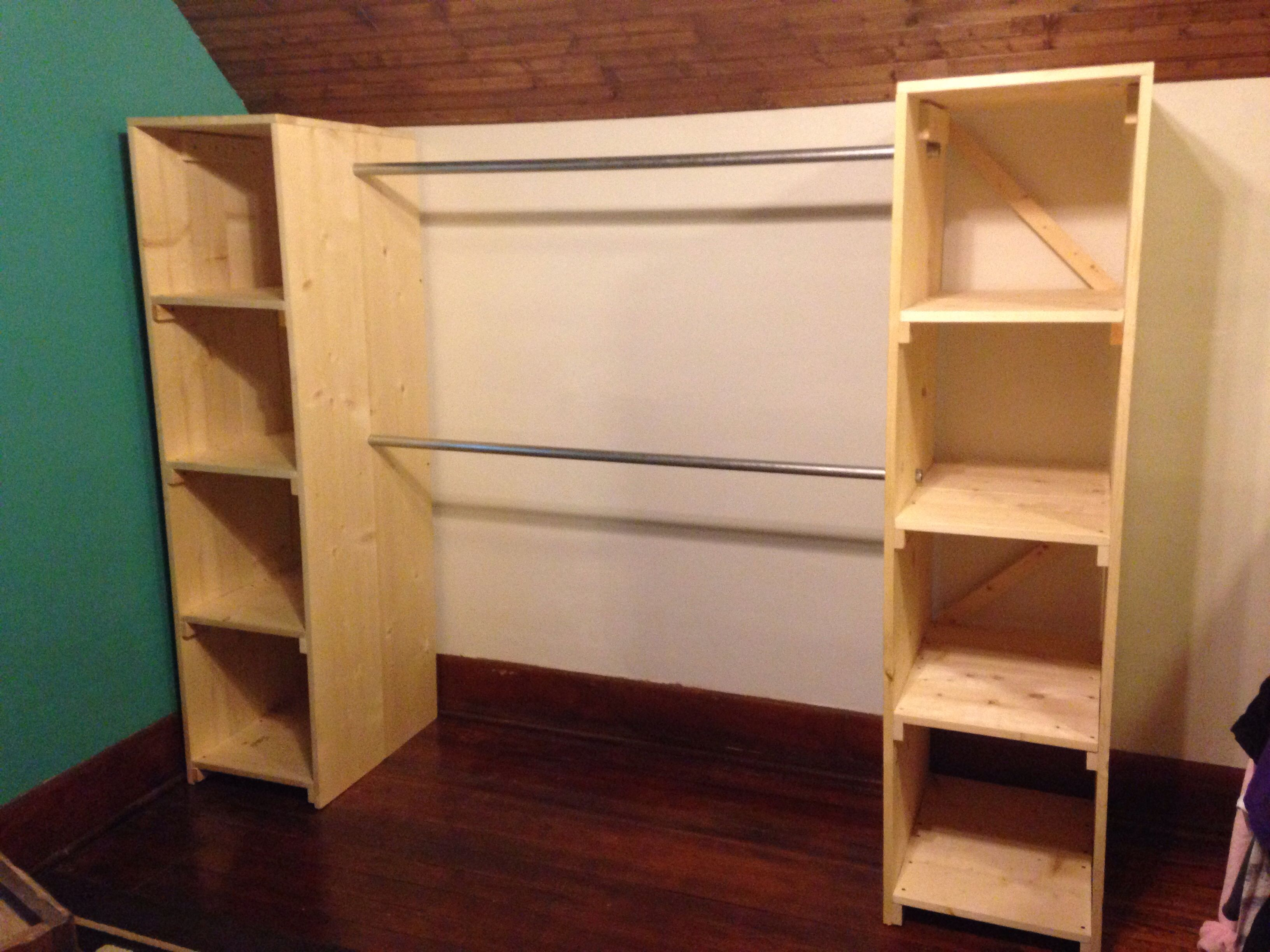 My free standing closet is finished it 39 s perfect for our for Storage solutions for small closets