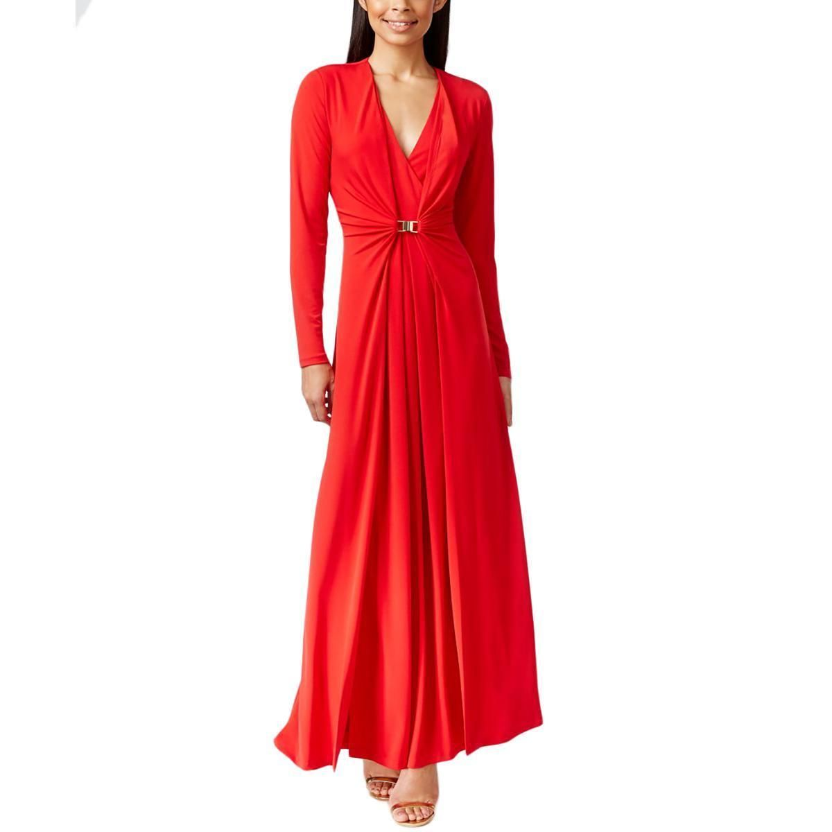 Cool great calvin klein womens red long sleeve stretchy gown