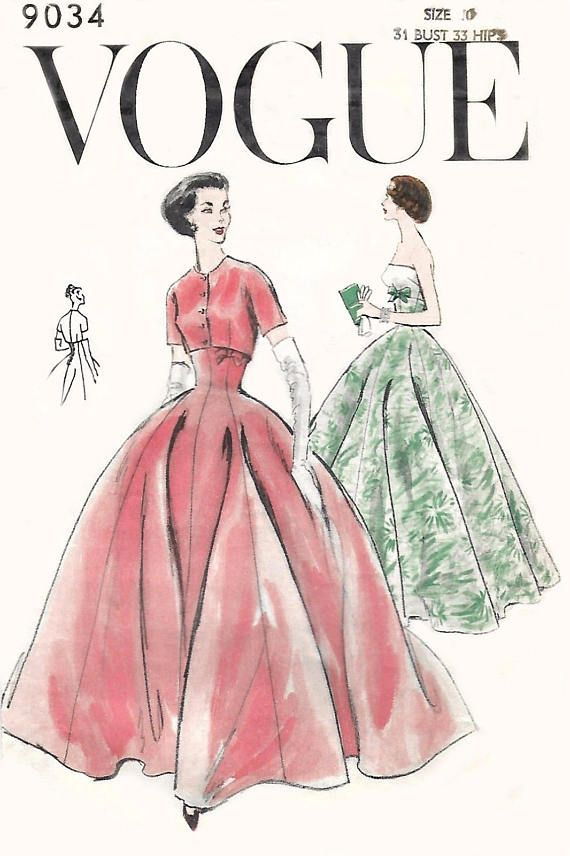 Vintage 1950\'s Sewing Pattern Vogue Evening Ball Gown & Bolero Prom ...