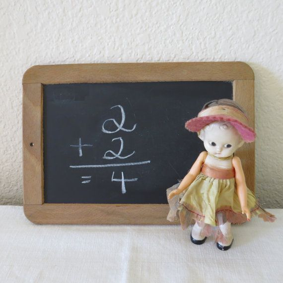 Vintage French student chalkboard slate by Recologie on Etsy, $12.00