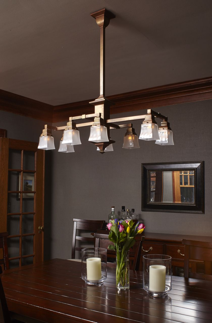 Eight Light Rectangular Chandelier With 2 1 4 Shade Holders Down Dining Room Lighting Craftsman Dining Room Craftsman Chandeliers