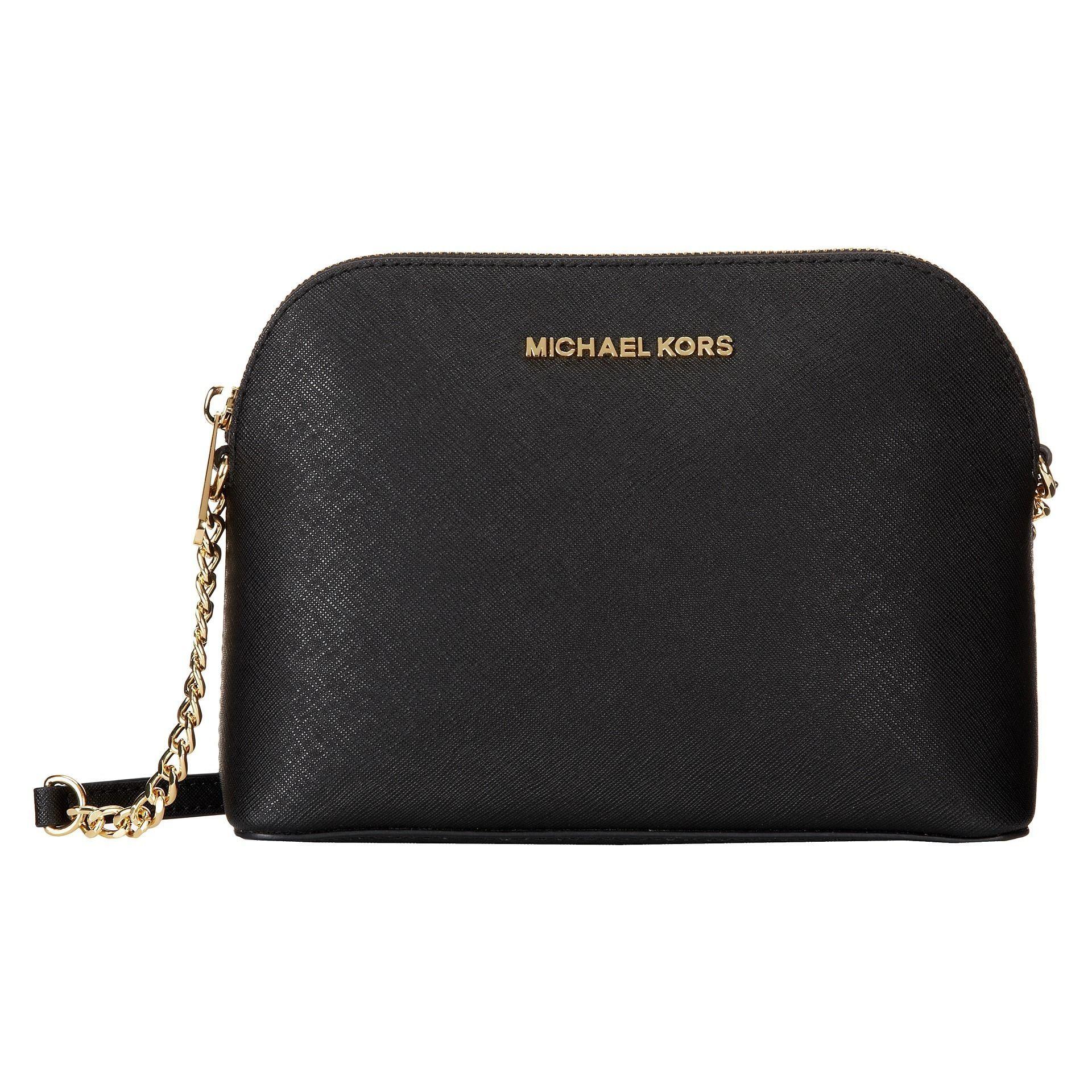 0c26fc92da44 Michael Michael Kors Cindy Black  Gold Saffiano Leather Dome Handbag (Black  Gold)