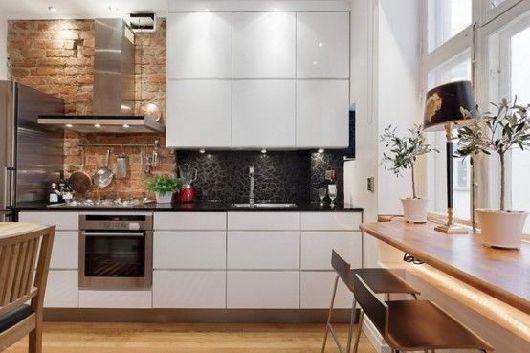 weiße Küche mit Klinker an der Wand Ideen Pinterest weiße - küche lackieren vorher nachher