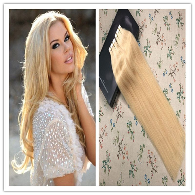 Tape In Extensions Bleach Blonde Color 613 100 Virgin Human Hair