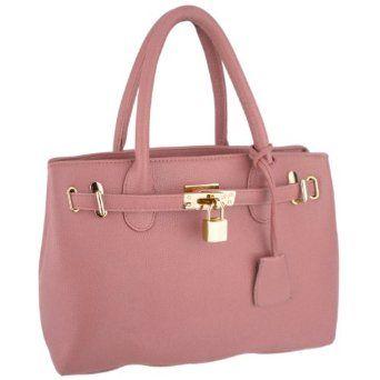 HESSA Pink Décor Lock Double Top Handle Zippered Office Tote Bag Satchel Purse Handbag,