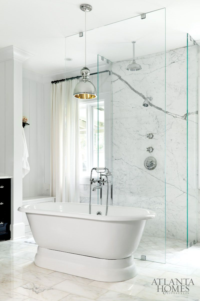 glass + marble + metal pendant in luxurious bathroom by Betty ...